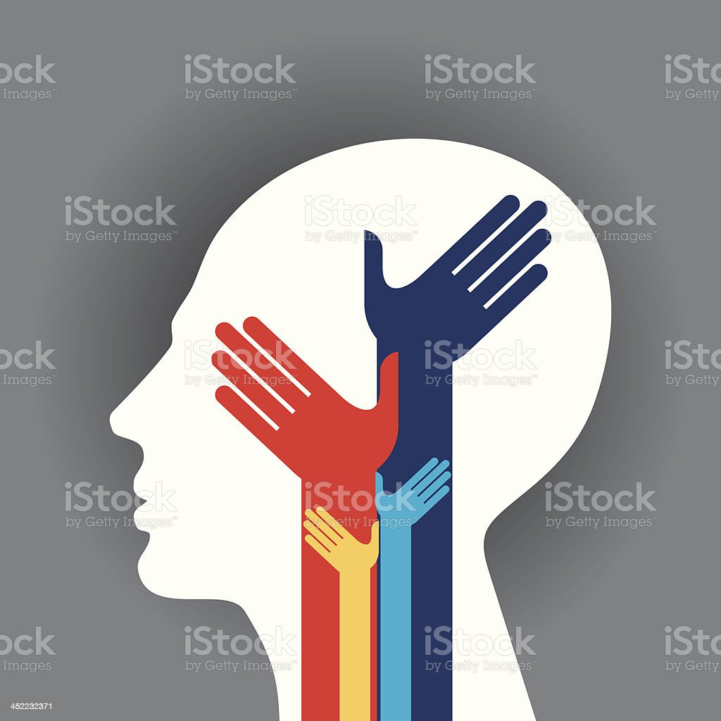 Concept of unity with white head royalty-free stock vector art