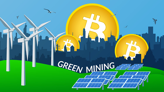 Concept of using green energy to protect the environment when mining bitcoin. Windmills and solar panels stand on the green grass to generate electricity. City skyline. Vector illustration.