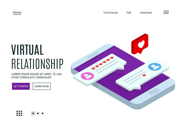 Concept of virtual relationships. Online dating and social networking. Chatting on the Internet. Landing page template. Vector 3d isometric illustration. vector art illustration