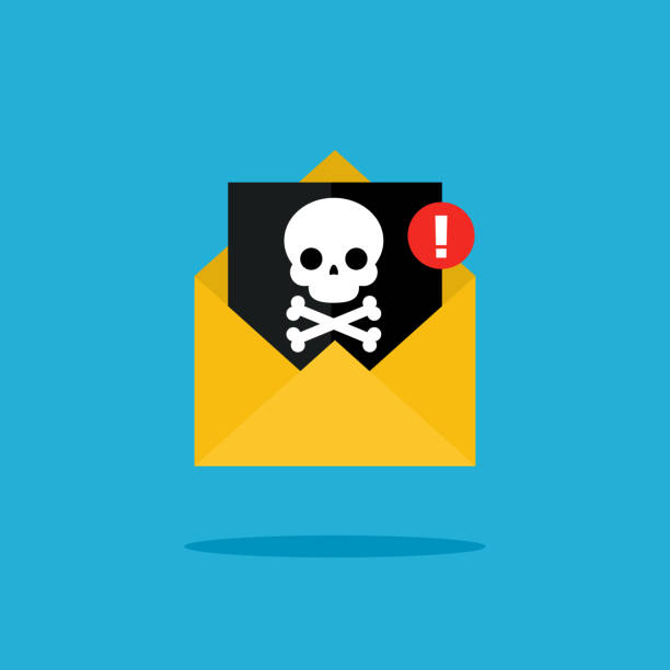 Concept of virus, piracy, hacking and security. Concept of virus, piracy, hacking and security. Malicious content and skull. Flat design, vector illustration. hacker stock illustrations