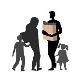 Concept Of Visit Supermarket. Silhouettes Of Father, Mother With Children After Shopping. Father Holds Paper Bag With Food Supply. Concept Of Family Spending Time. Cartoon Flat Vector Illustration.