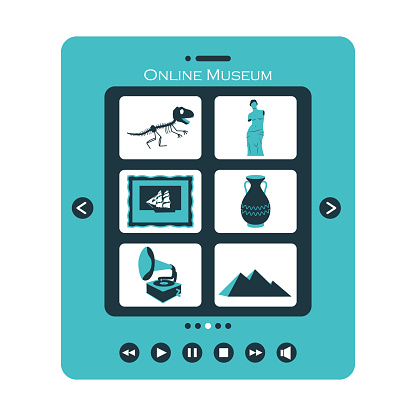 Concept of visiting an online Museum or exhibition. Tablet with categories of Museum items. The symbols of sculpture, ancient culture, the skeleton of a dinosaur. Color vector illustration on white