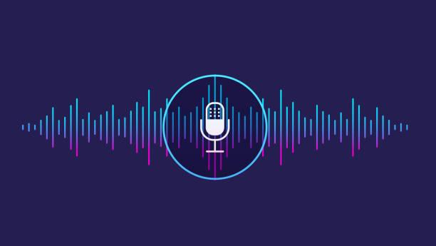 音声認識の概念。サウンド ウェーブの声、音、マイク アイコンの模倣。 - 音響点のイラスト素材/クリップアート素材/マンガ素材/アイコン素材