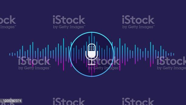 音声認識の概念サウンド ウェーブの声音マイク アイコンの模倣 - つながりのベクターアート素材や画像を多数ご用意