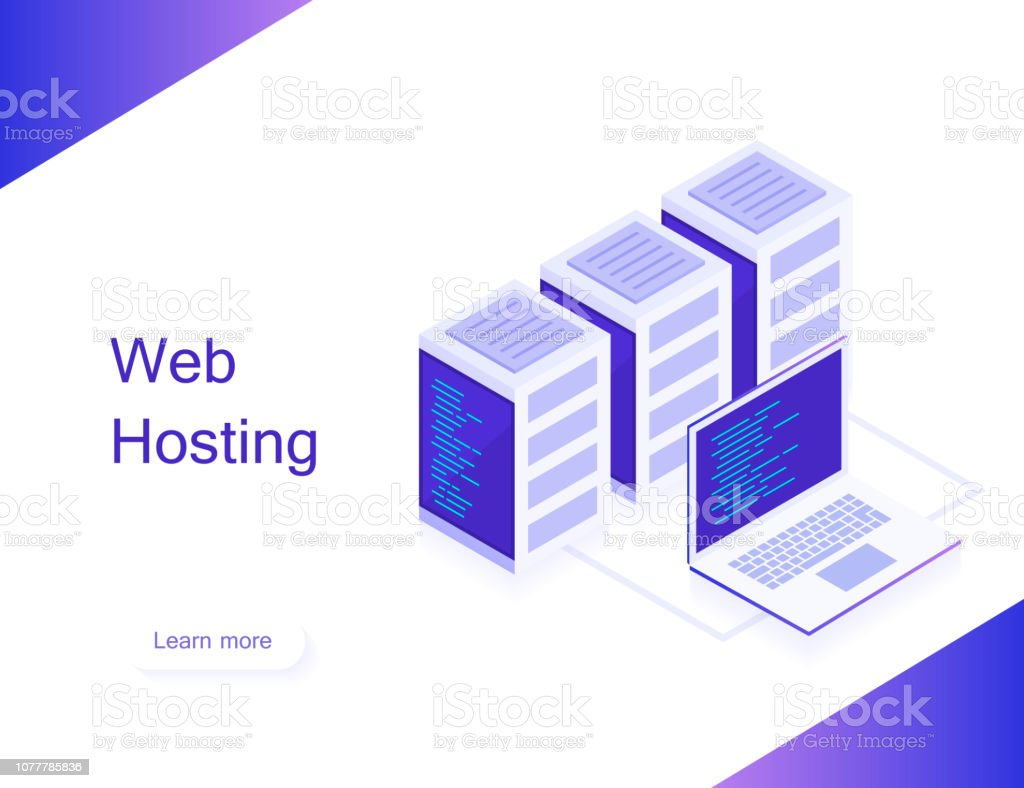 Concept Of Web Hosting Vector Isometric Map With Business