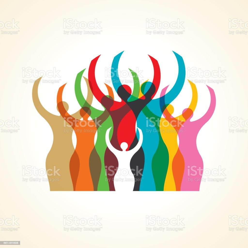 Concept of woman unity. vector art illustration