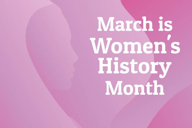 Concept of  Women's History Month. Template for background, banner, card, poster with text inscription. Vector EPS10 illustration. Concept of  Women's History Month. Template for background, banner, card, poster with text inscription. Vector EPS10 illustration month stock illustrations
