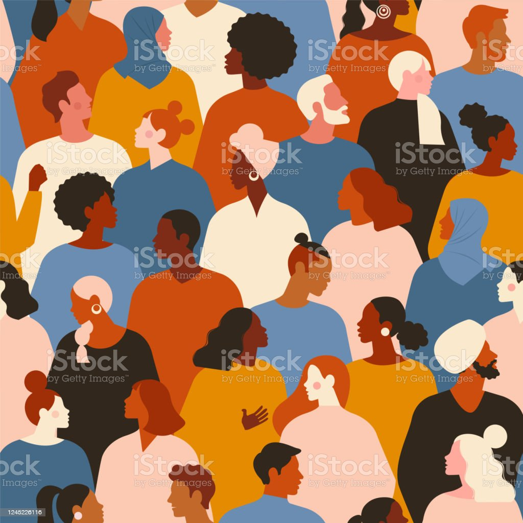 Concept on the theme of racism. Stop racism. The image of protesting people, equality. protest. Vector stock illustration. Flat style. Seamless pattern. Concept on the theme of racism. Stop racism. The image of protesting people, equality. protest. Vector stock illustration. Flat style. Seamless pattern. Adult stock vector