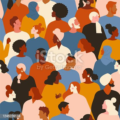 istock Concept on the theme of racism. Stop racism. The image of protesting people, equality. protest. Vector stock illustration. Flat style. Seamless pattern. 1245226116