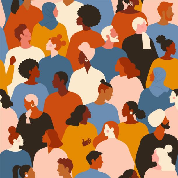 koncepcja na temat rasizmu. stop rasizmowi. obraz protestujących ludzi, równość. protest. wektor ilustracja stockowa. płaski styl. bezszwowy wzór. - indie stock illustrations