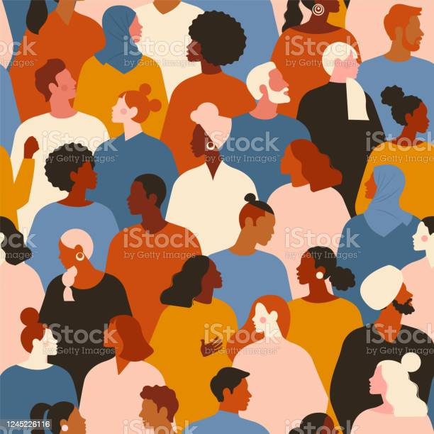 Concept On The Theme Of Racism Stop Racism The Image Of Protesting People Equality Protest Vector Stock Illustration Flat Style Seamless Pattern Stock Illustration - Download Image Now