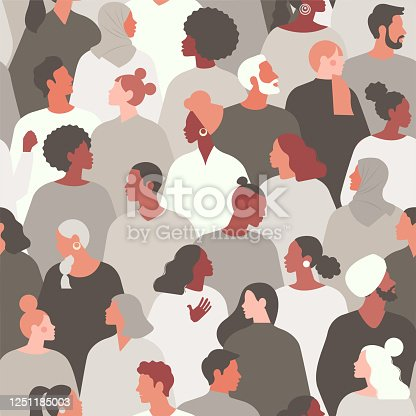 Concept on the theme of racism. Stop racism. The image of protesting people, equality. protest. Vector stock illustration. Flat style. Seamless pattern.