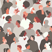 istock Concept on the theme of racism. Stop racism. The image of protesting people, equality. protest. Vector stock illustration. Flat style. Seamless pattern. 1251185003