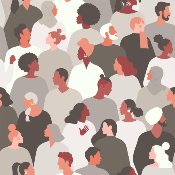 인종차별을 주제로 한 개념. 인종차별을 중단하십시오. 항의하는 사람들의 이미지, 평등. 흑인의 삶은 중요합니다. 벡터 스톡 일러스트레이션입니다. 플랫 스타일. 매끄러운 패턴. - diversity stock illustrations