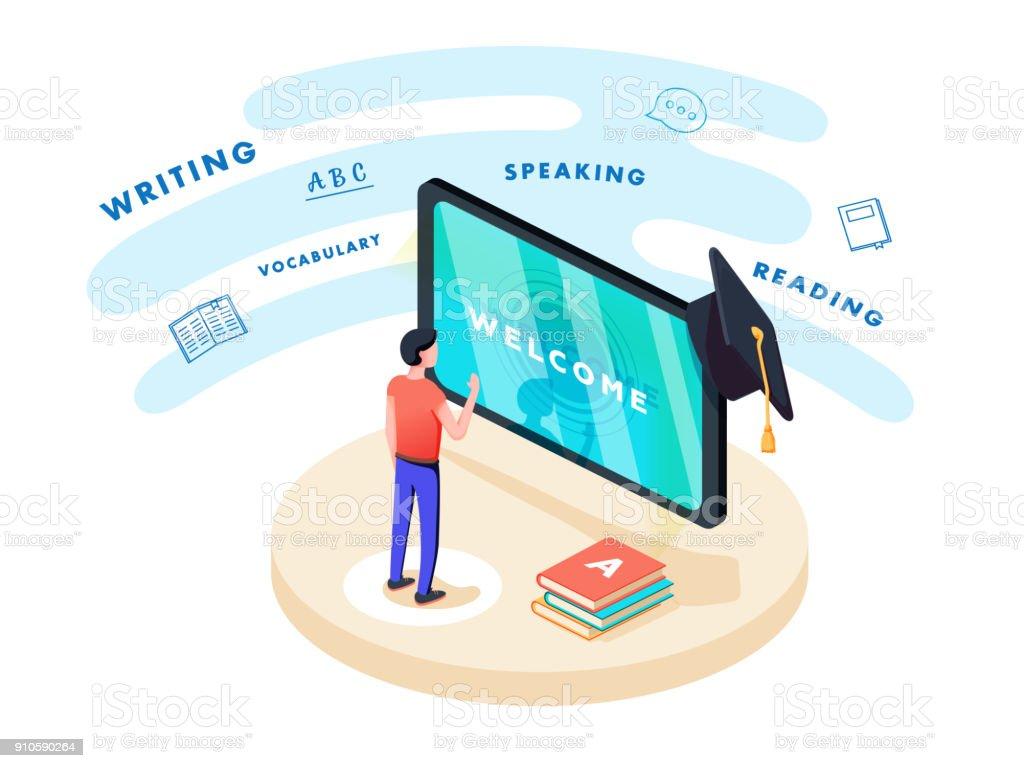 Concept en ligne apprentissage et l'enseignement sur le thème des langues étrangères. Étudiant se trouve en face de gadget - Illustration vectorielle
