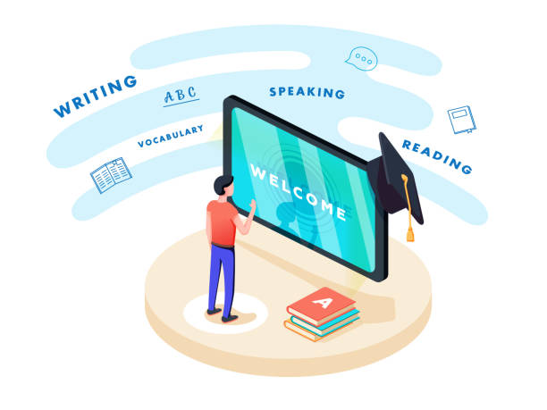 illustrazioni stock, clip art, cartoni animati e icone di tendenza di concept on-line learning and teaching on theme of foreign languages. student stands in front of gadget - english