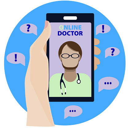 Concept. Online Medical Advice. Phone Video Call to the Doctor Through the Application on the Smartphone. Hand holding the phone. Doctor male. Vector illustration in flat style.
