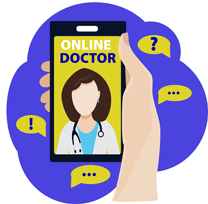 Concept. Online Medical Advice. Phone Video Call to the Doctor Through the Application on the Smartphone. Online Medical Advice.Hand holding the phone.Female doctor.Vector illustration in flat style.