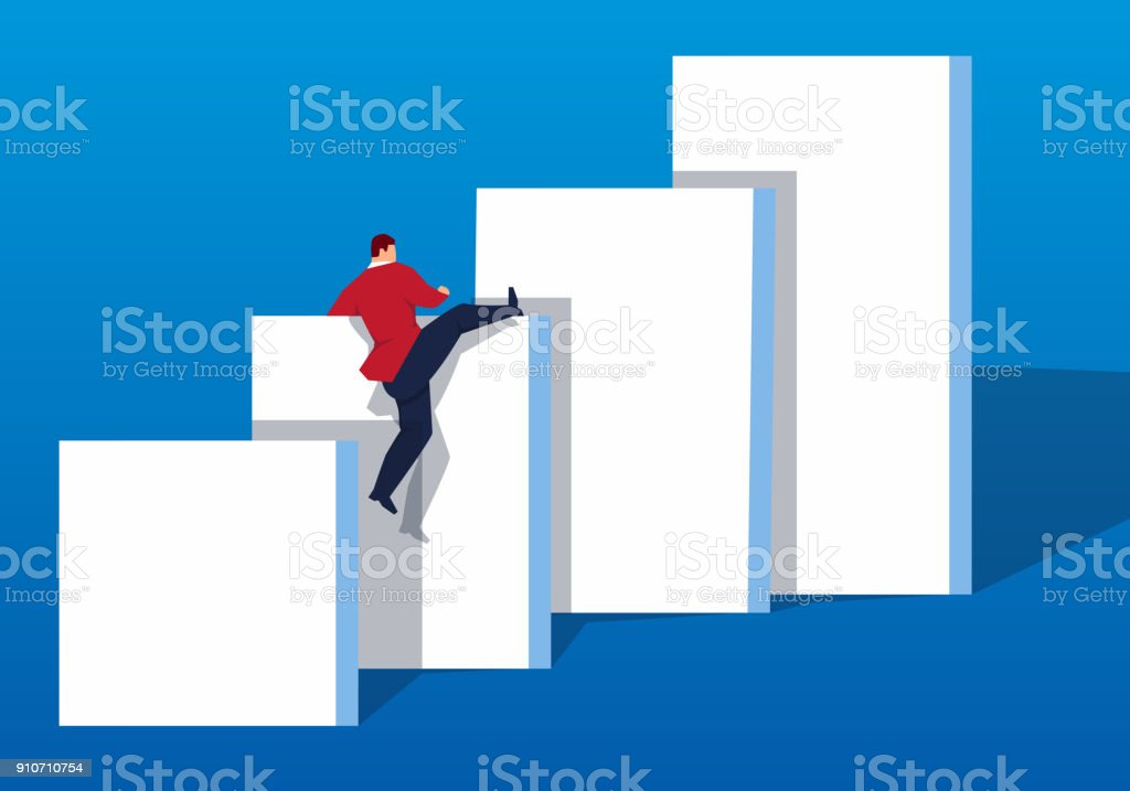 Concept overcome difficulties to achieve victory vector art illustration