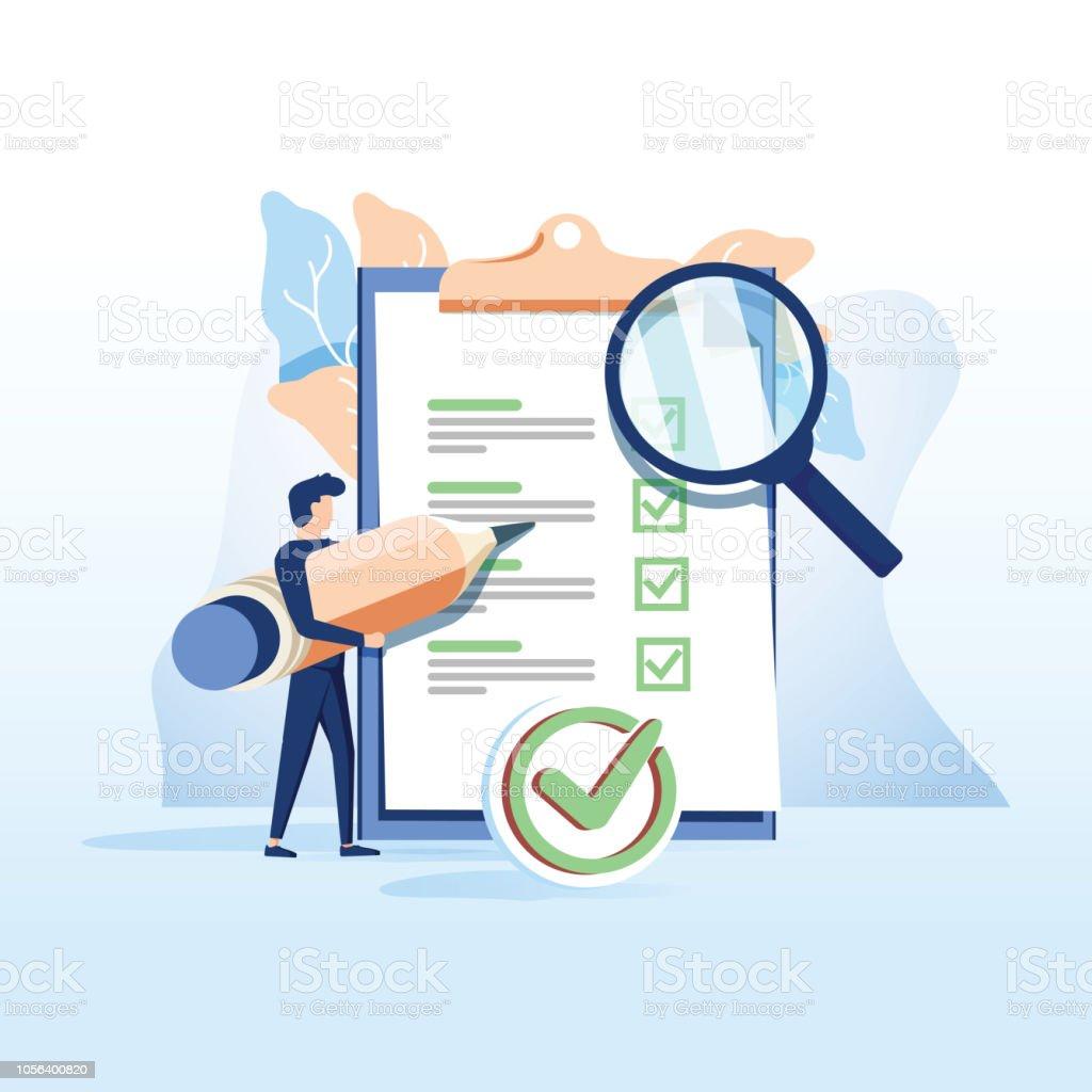 La gente de concepto llena un formulario, solicitud de empleo. personas seleccionar un currículum para un trabajo para página web - ilustración de arte vectorial