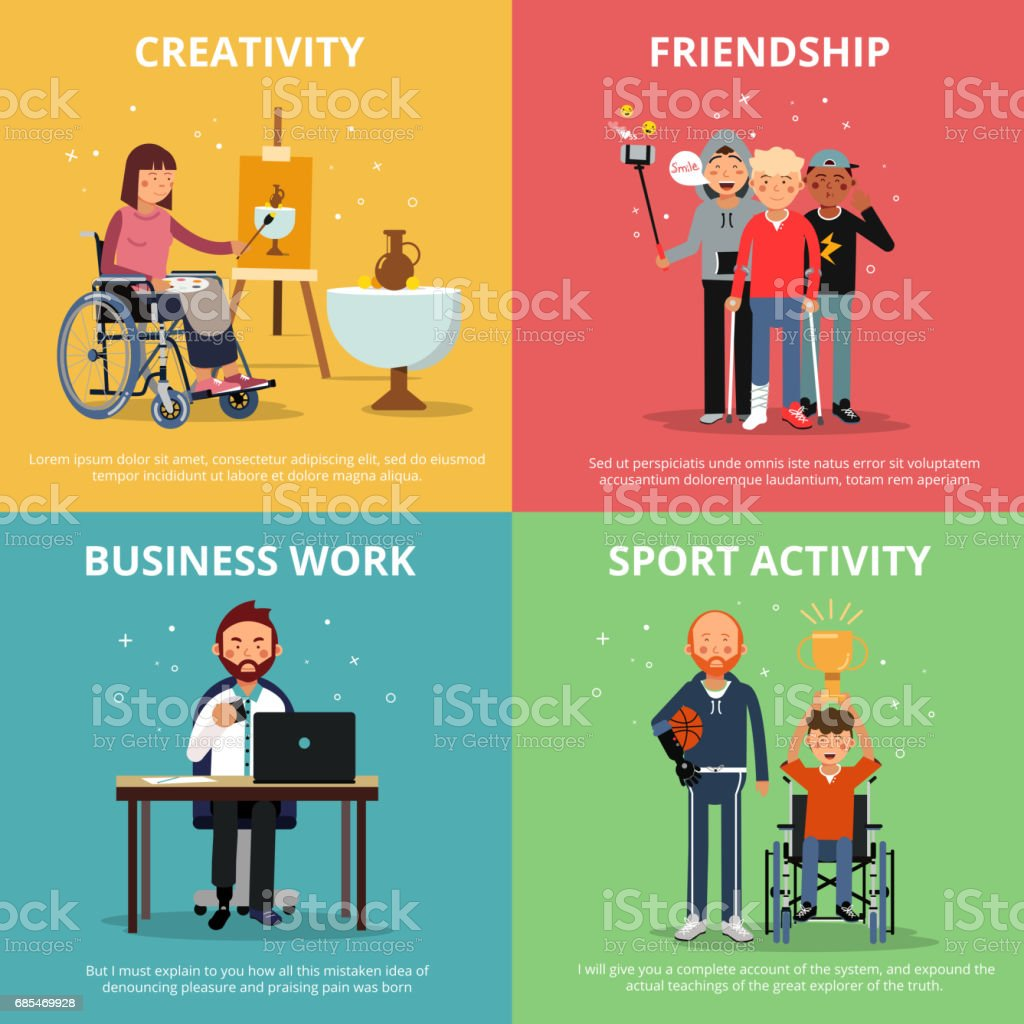 Concept pictures of disabled people rehabilitation. Human friendship. Vector banner set - ilustración de arte vectorial