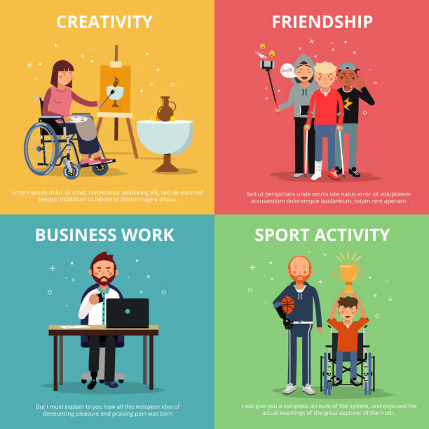 concept pictures of disabled people rehabilitation. human friendship. vector banner set - wheelchair sports stock illustrations, clip art, cartoons, & icons