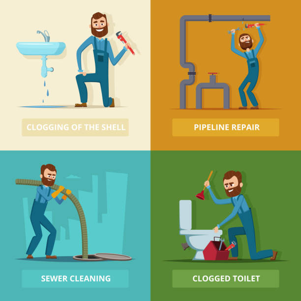 concept pictures set of plumber at work - plumber stock illustrations, clip art, cartoons, & icons