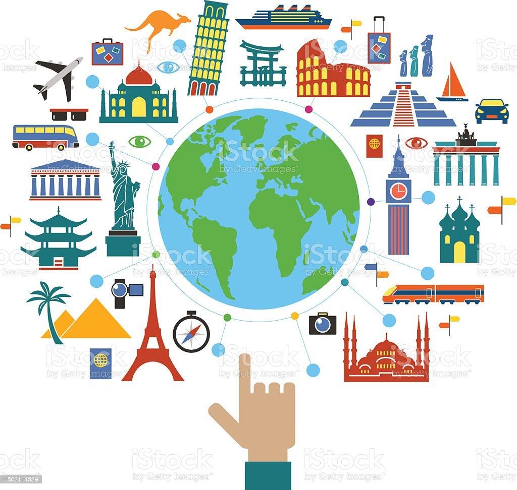 Concept planning a travel vector art illustration