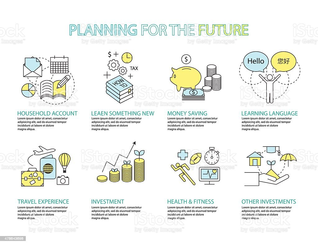 concept Planning the future vector art illustration