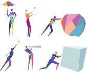 Vector Illustration of Colorful Concept Polygonal People with transparency in eps10