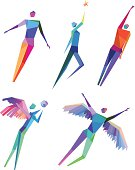 Vector Illustration of Colorful Conceptual Polygonal Flying People with transparency in eps10