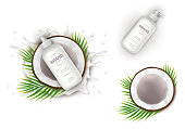 Cosmetic elements realistic vector set. White dispenser bottle with lotion and half of coconut on background of milk splash with drops. Mock up, design template for natural organic cosmetics
