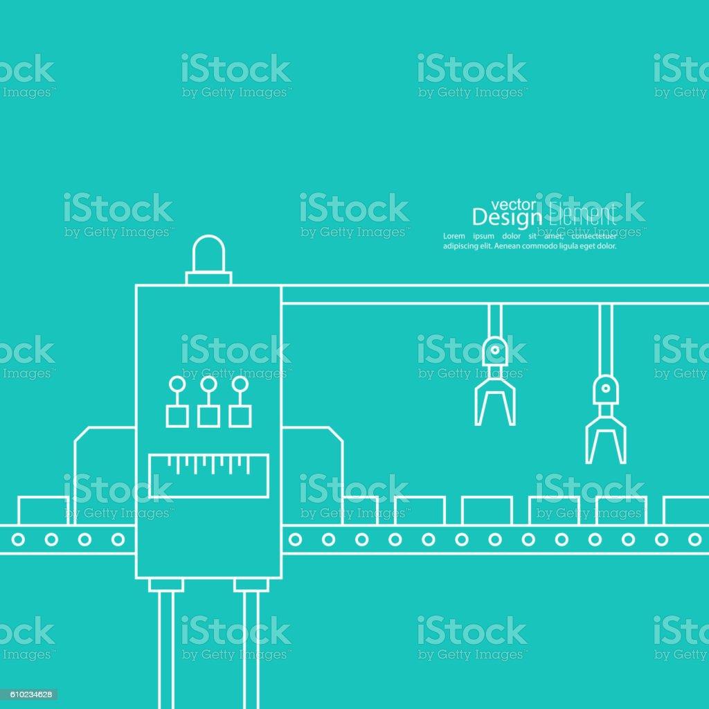 Concept Production line vector art illustration