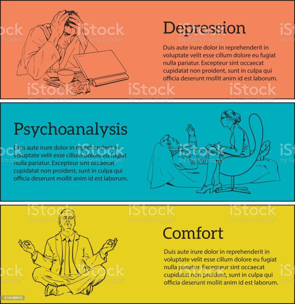 Conceito Psicoterapia de três ilustrações - ilustração de arte em vetor