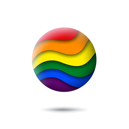 LGBT concept - rainbow pride flag lgbtq icon in the shape of circle. Abstract waving lgbtq flag. Paper cut style. Multicolor lgbt transgender gay lesbians vector symbol, icon, button
