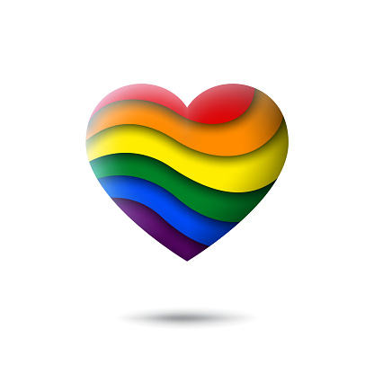 LGBT concept - rainbow pride flag lgbtq icon in the shape of heart. Abstract waving lgbtq flag. Paper cut style. Multicolor lgbt transgender gay lesbians vector symbol, icon, button