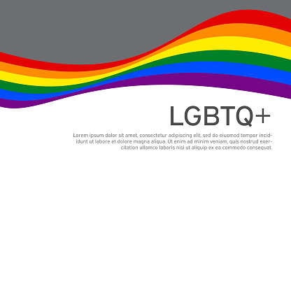LGBT concept - rainbow pride flag lgbtq with place for text. National Coming Out Day October 11. Wavy rainbow LGBTQ background in flat style. Multicolor transgender gay lesbians vector poster
