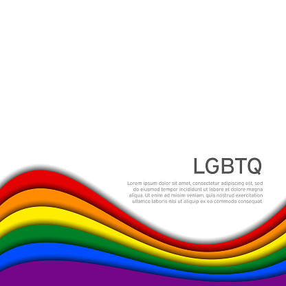 LGBT concept - rainbow pride flag lgbtq with place for text. National Coming Out Day October 11. Wavy rainbow LGBTQ background in paper cut style. Multicolor transgender gay lesbians vector poster