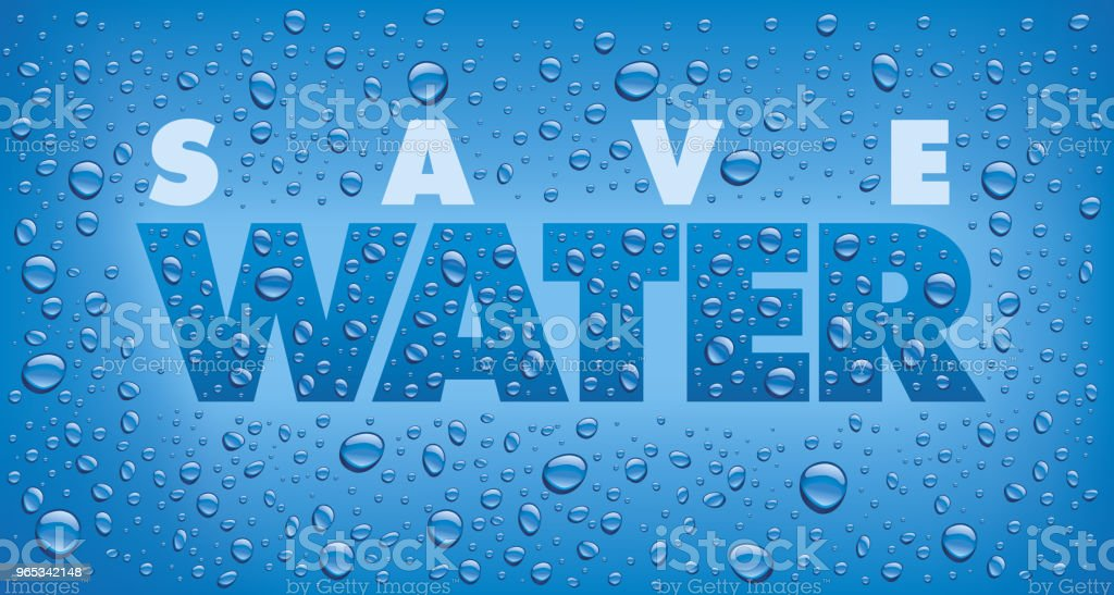 concept save water with many drops on blue background royalty-free concept save water with many drops on blue background stock vector art & more images of backgrounds