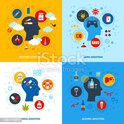 istock Concept set of Addictions 1252710227