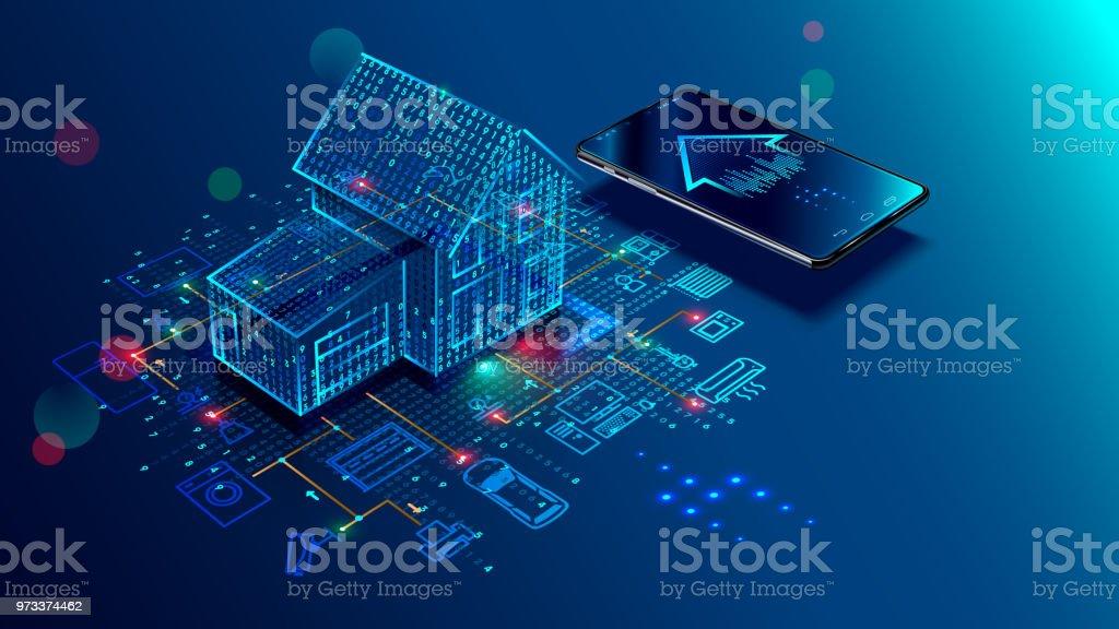 Concepto IOT. Casa inteligente. Internet de las cosas - arte vectorial de Accesibilidad libre de derechos