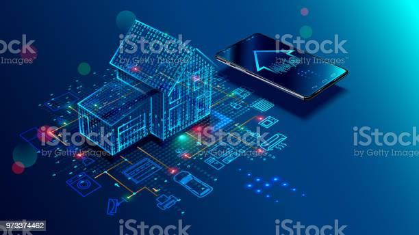 Ilustración de Concepto Iot Casa Inteligente Internet De Las Cosas y más Vectores Libres de Derechos de Accesibilidad