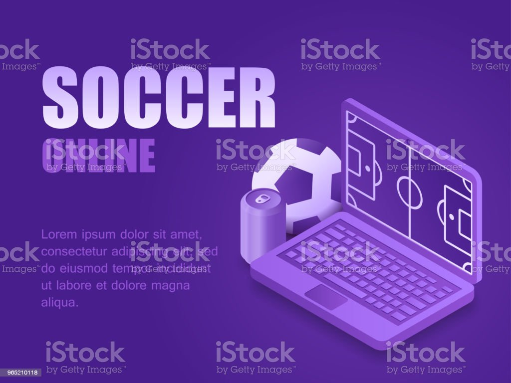 Concept soccer online. Vector illustration isometric laptop with soccer field, ball and beer can. Graphic design background football game live concept soccer online vector illustration isometric laptop with soccer field ball and beer can graphic design background football game live - stockowe grafiki wektorowe i więcej obrazów czynność royalty-free