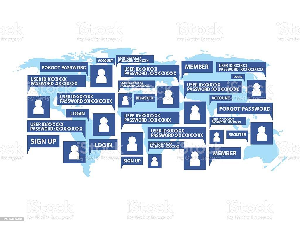 Concept Social Global Network Username Password Login Access