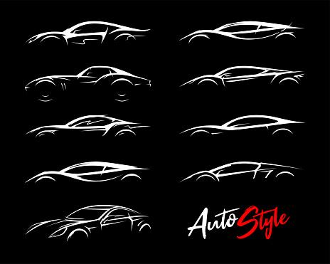 Concept sports car silhouettes icon set