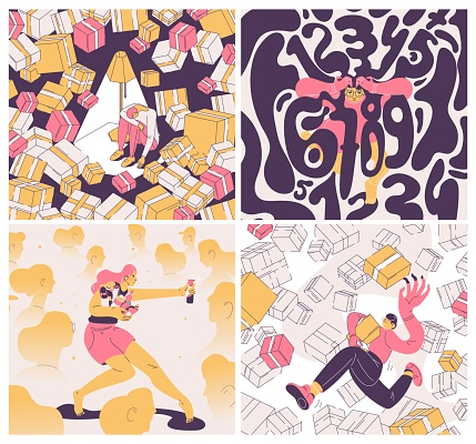 Concept square illustrations with people suffering from OCD. Pink, yellow and dark purple, outline style. Obsessive compulsive disorder for buying and collecting things, cleaning and counting.