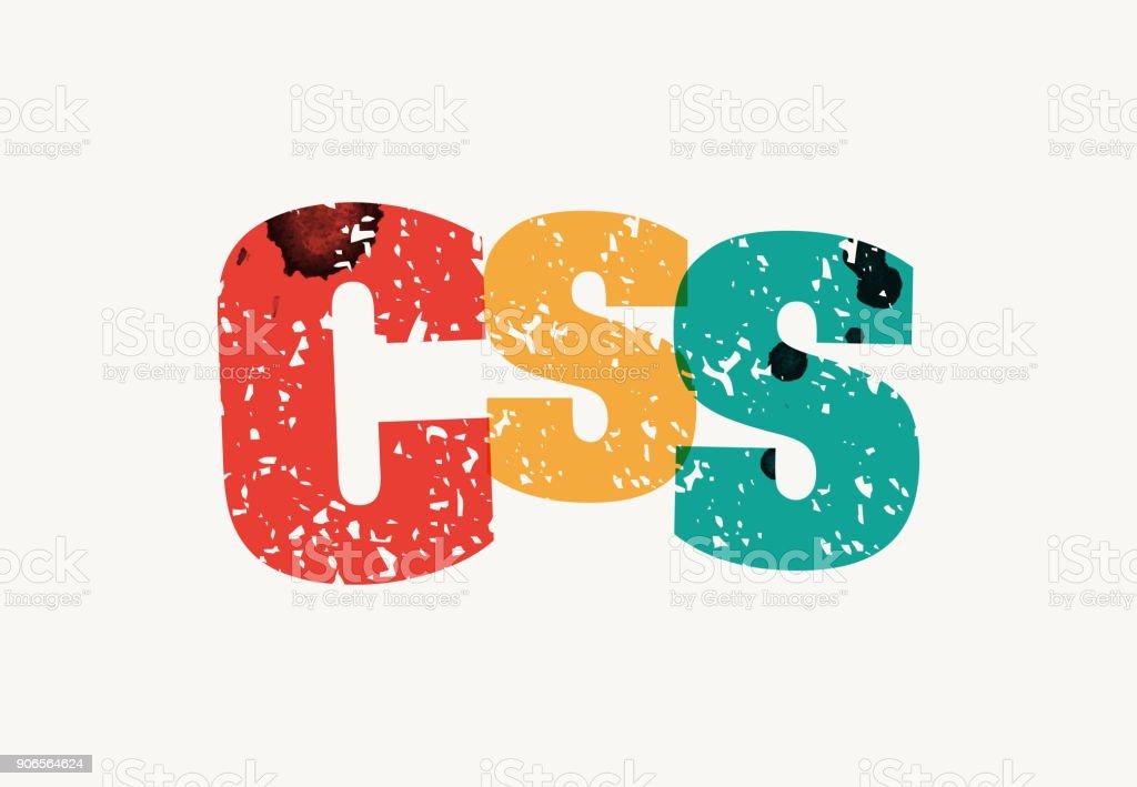 CSS Concept Stamped Word Art Illustration vector art illustration
