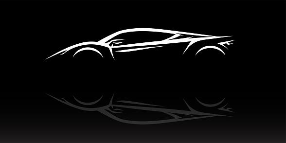 Concept supercar vehicle silhouette