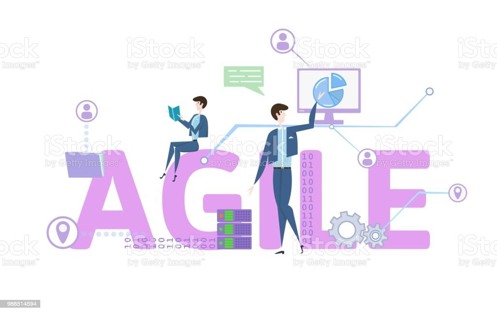 AGILE. Concept table with keywords, letters and icons. Colored flat vector illustration on white background. vector art illustration