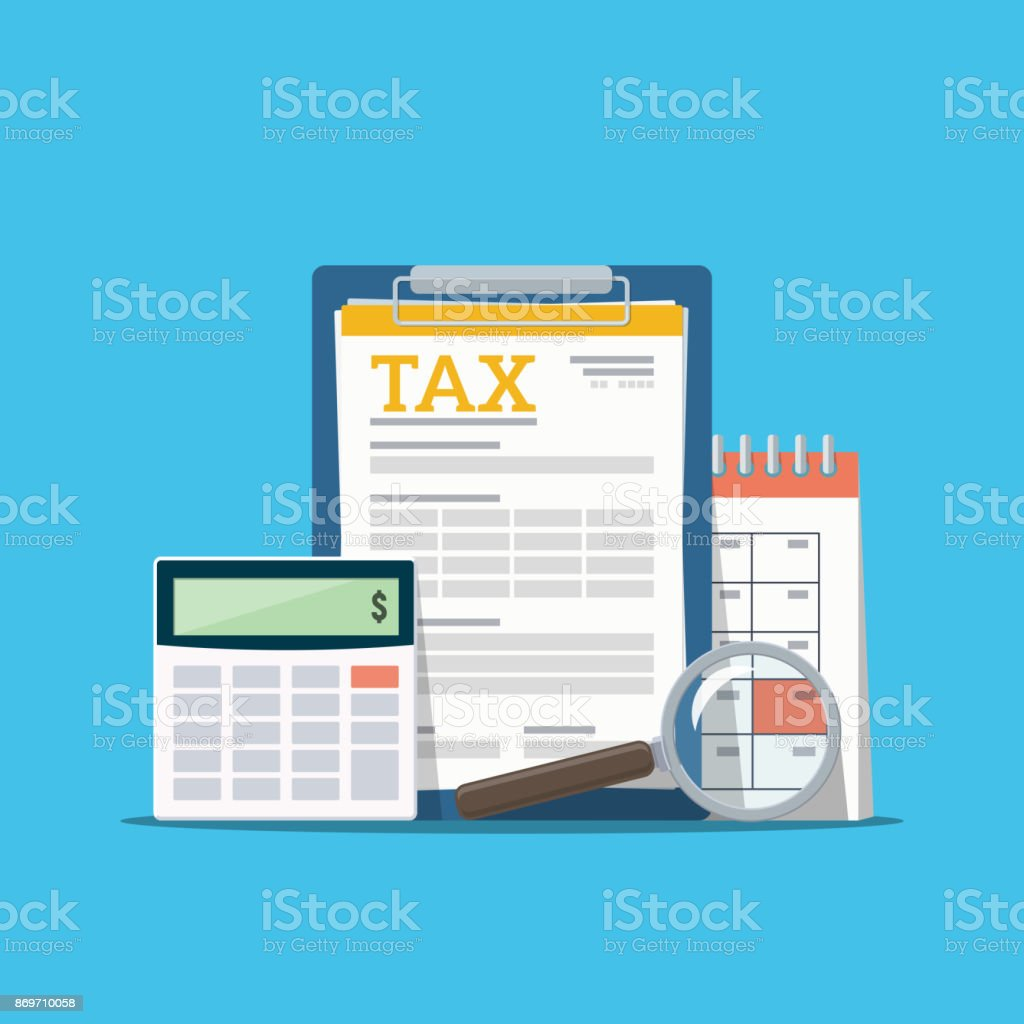Concept tax payment. Data analysis, paperwork, financial research report and calculation of tax return. Payment of debt. vector art illustration